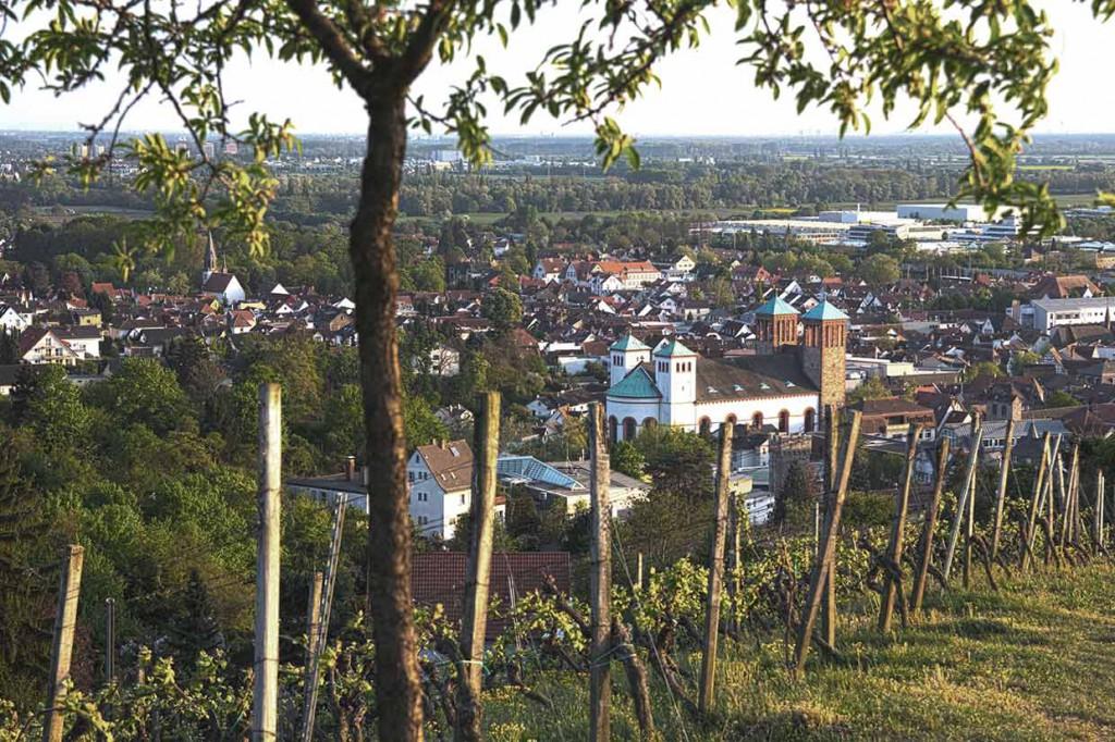 Blick vom Kirchberg auf Bensheim - der Kirchberg ist ein beliebtes Ausflugsziel für unsere Feriengäste